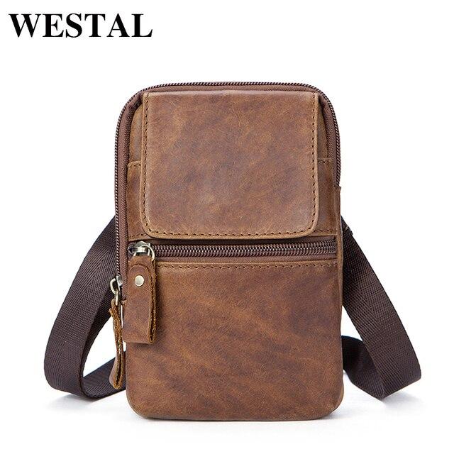 WESTAL Bolsa de mensajero con cinturón de Bolsos de cuero auténtico para hombre, Bolso pequeño de cintura, a la cadera, estilo cruzado, 1024