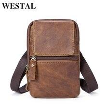 WESTAL Genuine Leather bags belt messenger bag men small waist hip bag for man heuptas waist packs pouch mens Crossbody 1024