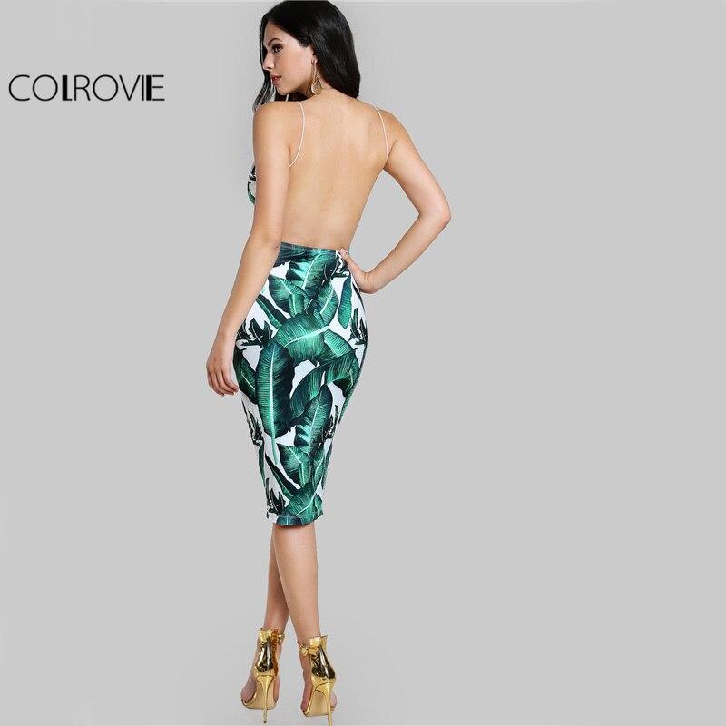 036e13ae6c COLROVIE Backless Equipaggiata Vestito Da Slittamento Verde Stampa ...