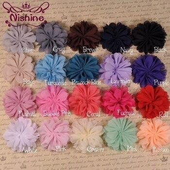 Nishine 10 sztuk/partia muszelki Ruffuled Ballerina szyfonowa płatek kwiaty dla dziecka opaski DIY szyfonowa kwiat dla dzieci nakrycia głowy