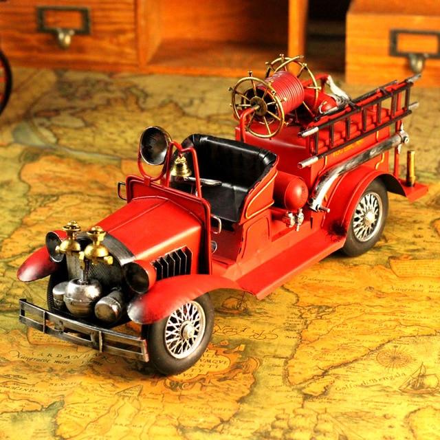Handmade retro finishing fire truck tin toys props home accessories model nostalgic decoration
