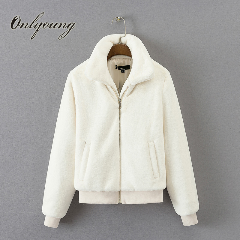 Onlyoung 2017 Autumn Women Warm Jacket Coat Stand Collar Faux Fur Fleece Thick White Black Grey Bomber Jacket