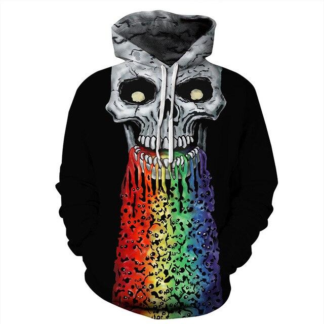 Rainbow Skull Hoodies 3D Print Hoodie Women Full Sleeves Hoodies Hooded Sweatshirt Pullover Moletom Streetwear Sudaderas Mujer 1