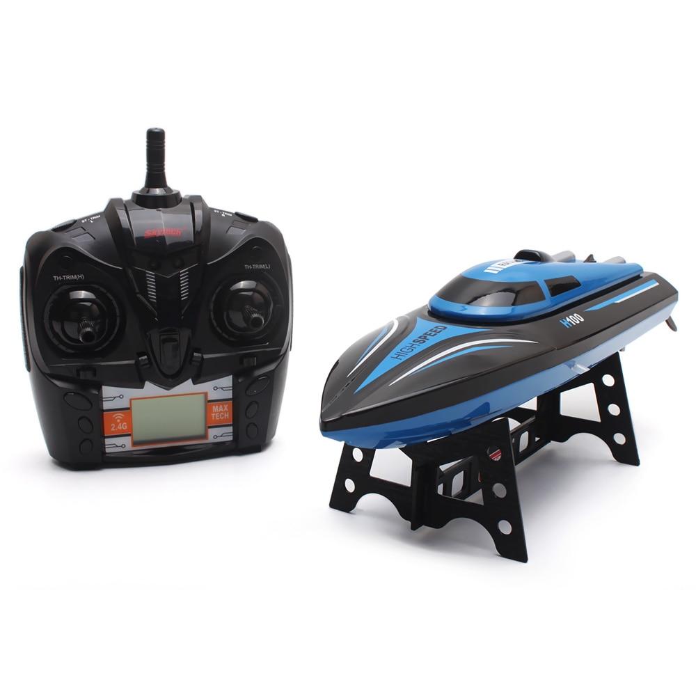 Bateau RC haute vitesse H100 2.4 GHz 4 canaux 30 km/h course bateau télécommandé avec écran LCD comme cadeau pour enfants jouets enfants cadeau