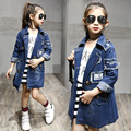 2016 New Autumn Kids girls denim jacket children  jacket Fashion atmosphere Cowboy coat for Autumn and winter