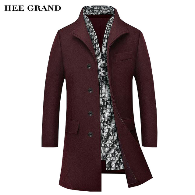 HEE GRAND Men Long Stretch Blends Hot Sale Autumn Winter Turn-Down Collar Cashere Fashion Coat Plus Size M-4XL 4 Colors MWN277