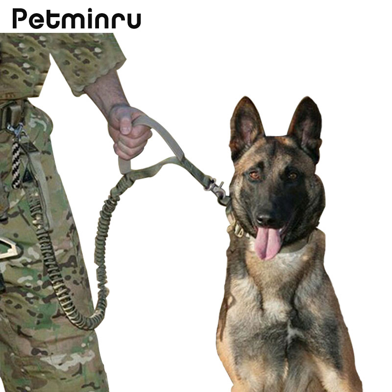 Petminru Waterproof Dog Leash Quick Release Heavy Duty Panic Adjustable Military Tactical Dog Leads Army Tactical Dog Collars