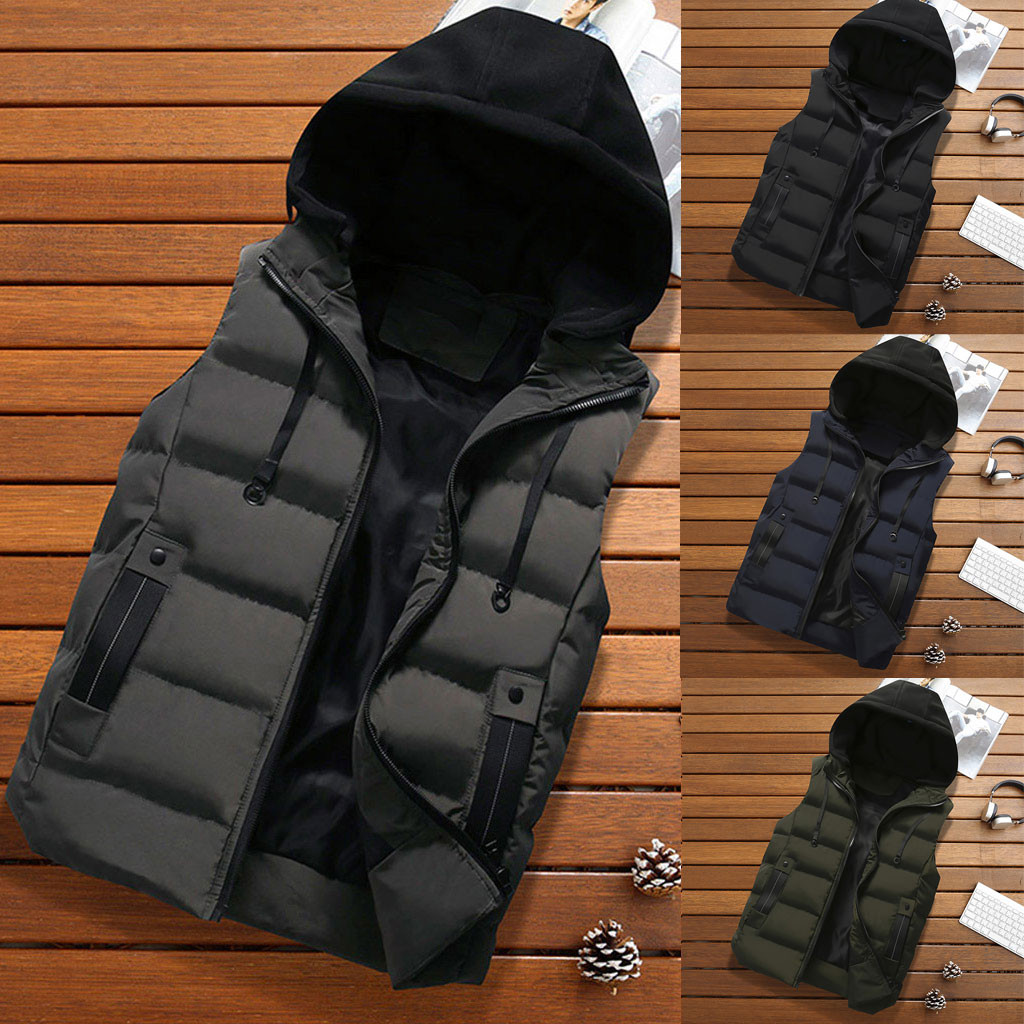 New Men's Autumn Winter Coat Padded Cotton Vest Warm Hooded Thick Vest Top Chalecos Para Hombre Colete Masculino Dropshipping