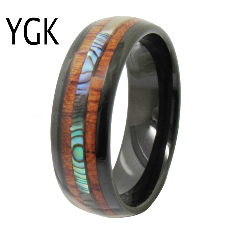 YGK Wedding Jewelry Black Dome With Wood & Shell Inlay Tungsten Rings for Men's Bridegroom Wedding Engagement Anniversary Ring black tungsten carbide with dark wood inlay mens wedding ring