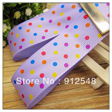 free shipping 1″(25mm) color dots Printed Violet grosgrain ribbon ,Garment accessories,Hair ribbon,xwxd36