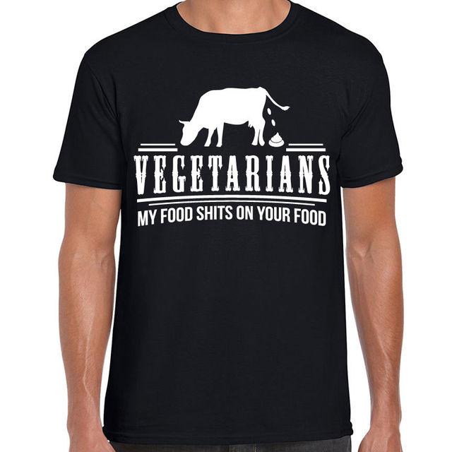 6a6a50eae Engraçado piada vegetariano impresso camisa dos homens t ofensiva humor  adulto carnívoro tee algodão de Alta