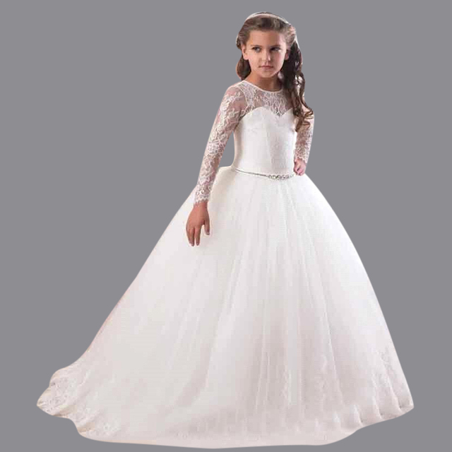 bb18679531d89 2016 White Ivory Ball Gown Long Sleeve Flowers Girls Dresses for Weddings  Lace First Communion Dress