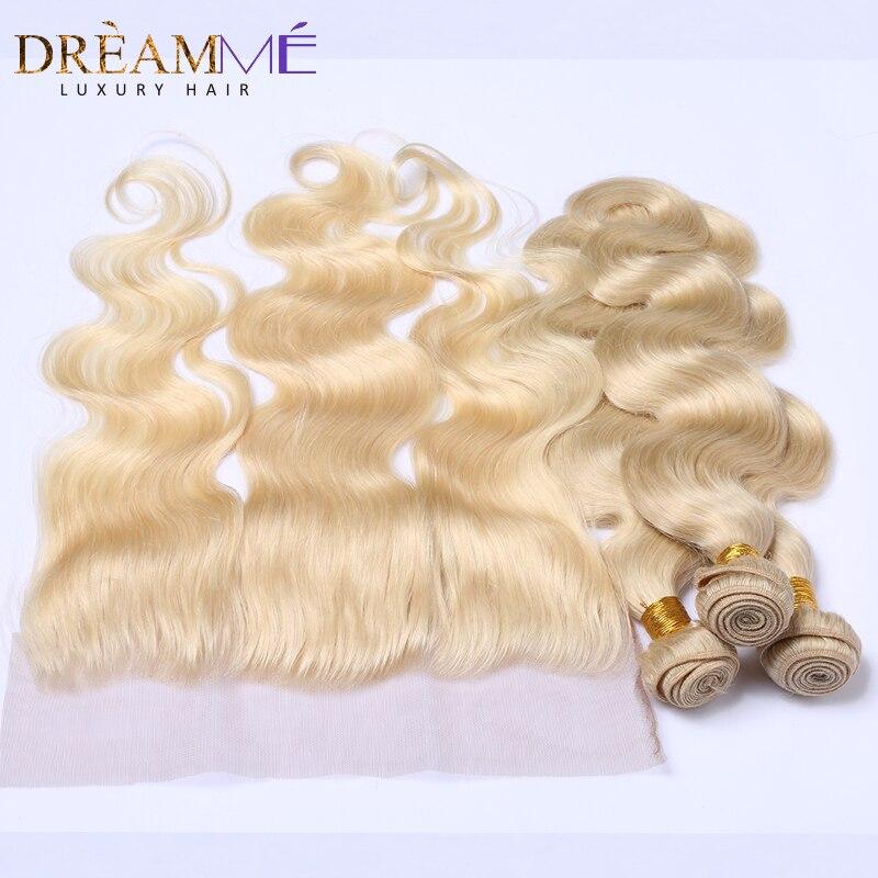 Brésilienne Corps Vague Blonde bundles avec frontale Fermeture cheveux humains 3 Faisceaux Avec Fermeture 613 Faisceaux Avec Frontale Dreaming Cheveux