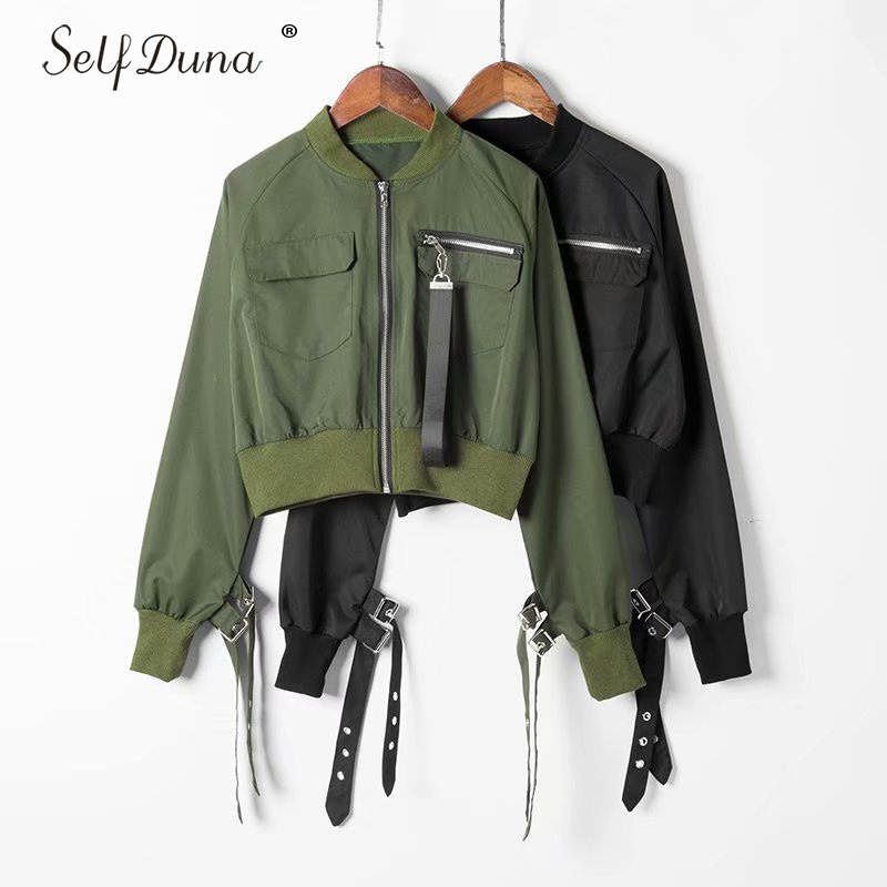 Self Duna 2019 Autumn Short Baseball   Jacket   Coat High Waist Black Slim Hip Hop Zipper Women Bomber   Jacket     Basic     Jackets