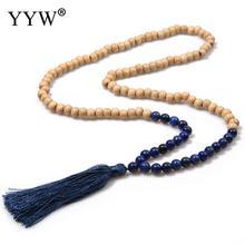 цена на Fashion Designer Long Necklaces Tassel Statement Fringe Necklaces & Pendants for Men Natural Stone Necklace Women Wood Beads