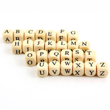 50pcs 10mm Alphabet A to Z Letter Natural Wooden Spacer Beads Toys For Baby Smooth Trendy Jewelry Making Wholesale