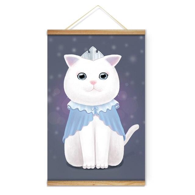 princesa bonito gato branco coroa de infância decoração da parede da