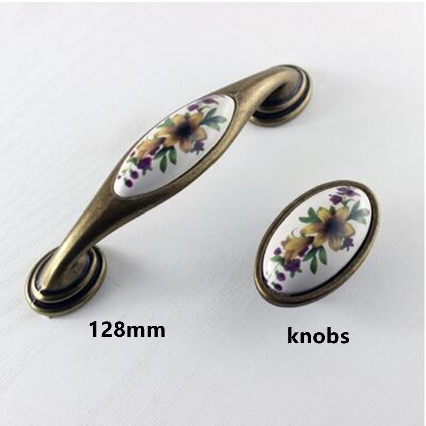 128mm  retro rural ceramic furniture handle bronze dresser kitchen cabinet door handle pull 16mm antique brass drawer knob 5 128mm glass handle black crystal kitchen cabinet drawer handle bronze dresser cupboard door pull 5 vintage furniture handles