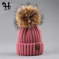 FURTALK Real Unisex Kids Ages 4 12 Raccoon Fur Ball Winter Hat Knitted Pom Pom Cap