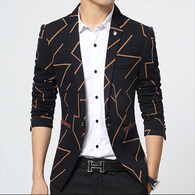 Erkek Kıyafeti'ten Blazerler'de Blazer Erkekler Sonbahar 2018 Kore Slim Fit Takım Elbise Moda Şerit tek Düğme Artı Boyutu M 3XL erkek Blazer Rahat erkek Ceket HJ491'da  Grup 1