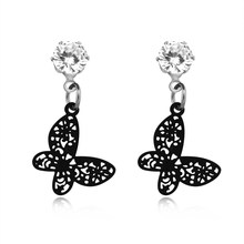 1pair Cute Black Butterfly Drop Earring Magnetic Fake Earring For Women Girl  Elegant Crystal Hollowed Earring Jewelry Gift E395 76a0ebb1511e