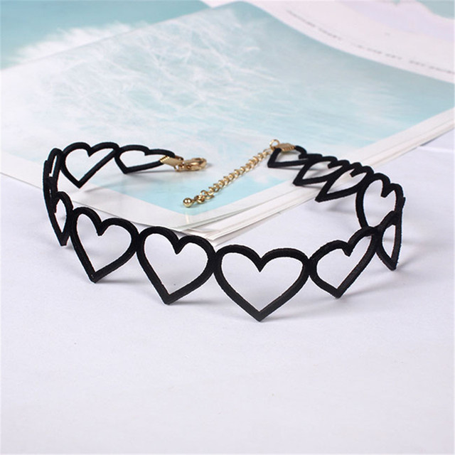 Japanese style Black Hollow out Love Collar