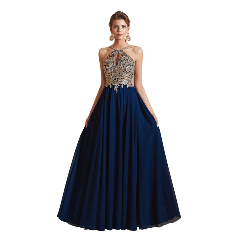 Elegant Chiffon Spaghetti Straps Backless with Appliques Evening dresses long Robe soiree Abendkleider Serene hill Dress party
