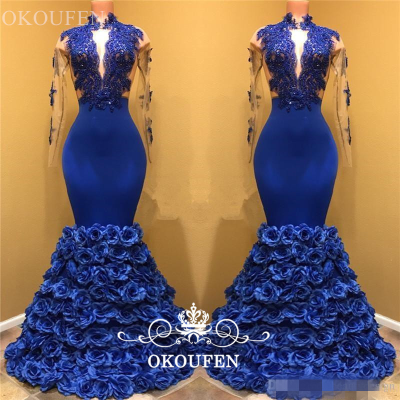 cfbbf62990 Chic Rose Flowers Mermaid Prom Dresses With Long Sleeves 2019 Sheer Lace Royal  Blue Evening Dress