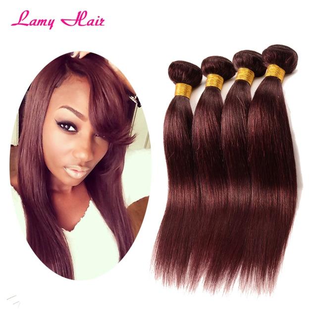 Peruvian Virgin Hair Straight 99j Red Wine Hair Bundles 10 30inch