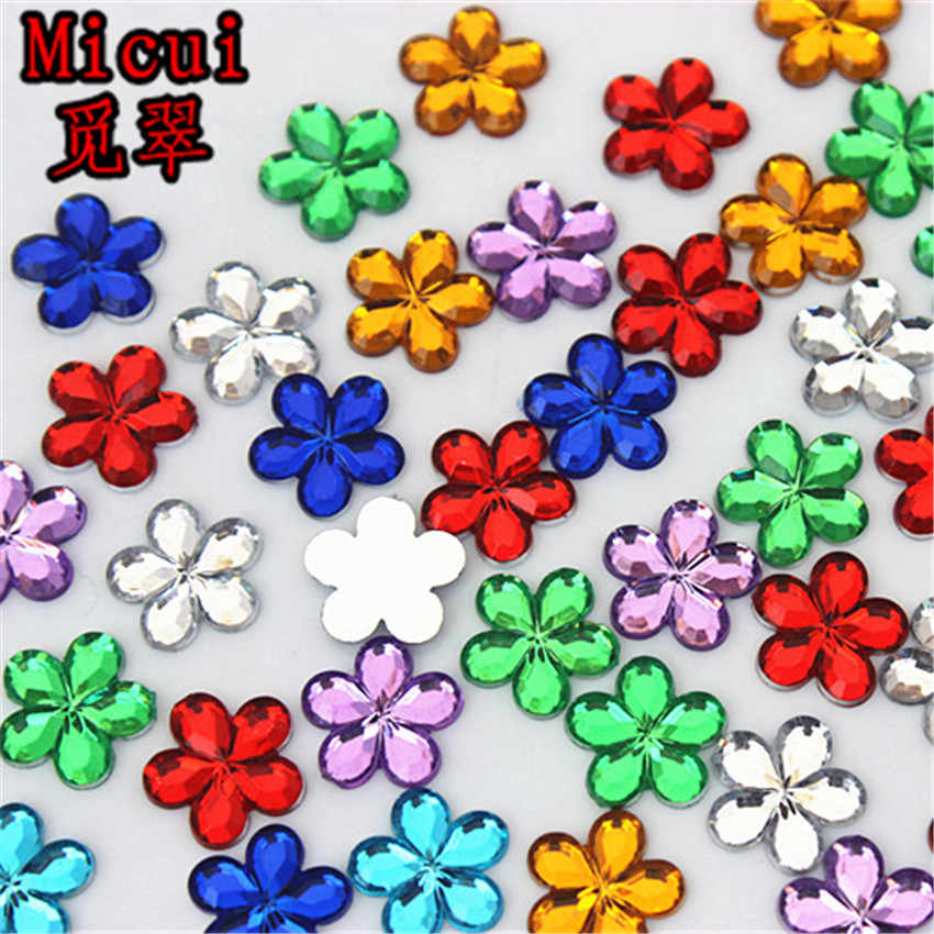 Micui 200PCS 10mm Flower Rhinestone Acrylic Flatback Strass Crystal Stones  For Jewelry Crafts Clothing Decorations ZZ180 867b75f0d51e