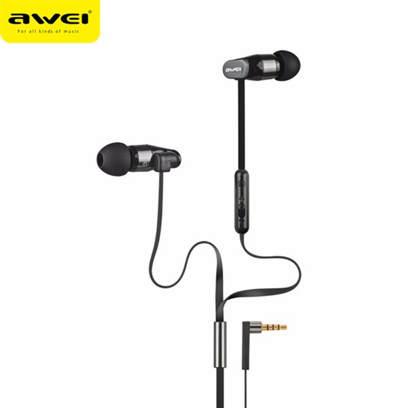New Awei ES-12Hi HiFi 3.5mm Earphone With Microphone Stereo Wired Earphones For Mobile Phones Smartphones MP3 MP4 qkz c6 sport earphone running earphones waterproof mobile headset with microphone stereo mp3 earhook w1 for mp3 smart phones