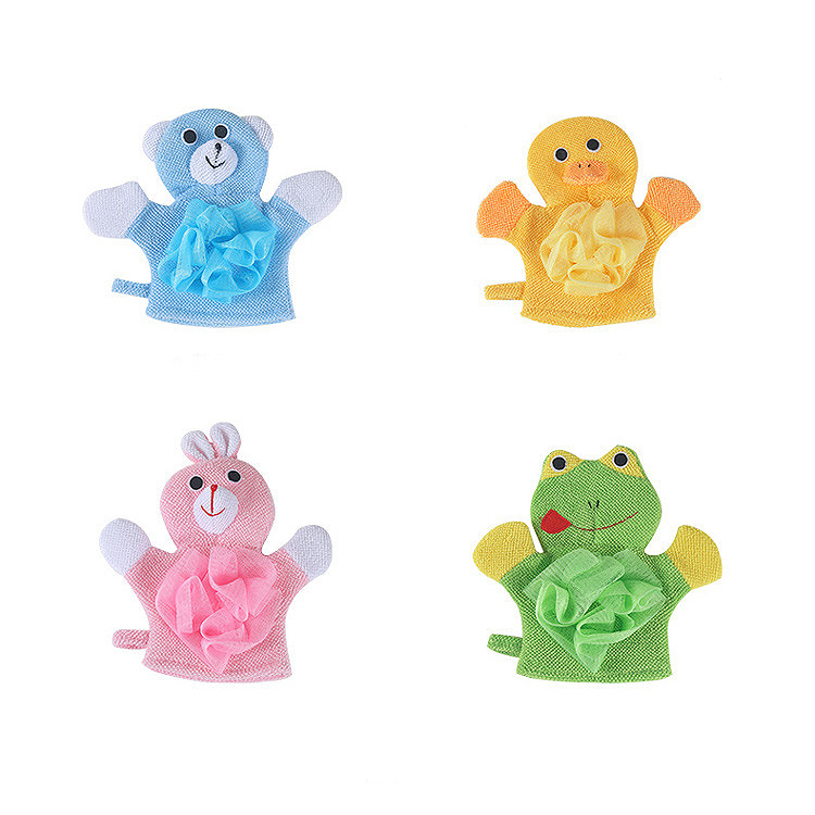 4-Pack Soft Baby Bath Gloves Cute Cartoon Animal Duck/Dog/Rabbit/Frog Shape Body Wash Mitts For Newborn Toddler Kids <font><b>Children</b></font> image