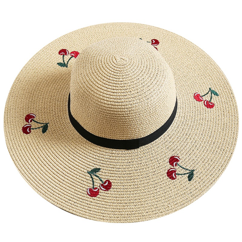 FashionSummer Women'S Foldable Sunscreen Uv Protection Straw Hat Embroidery Cherry Lady Beach Sun Hat(China)