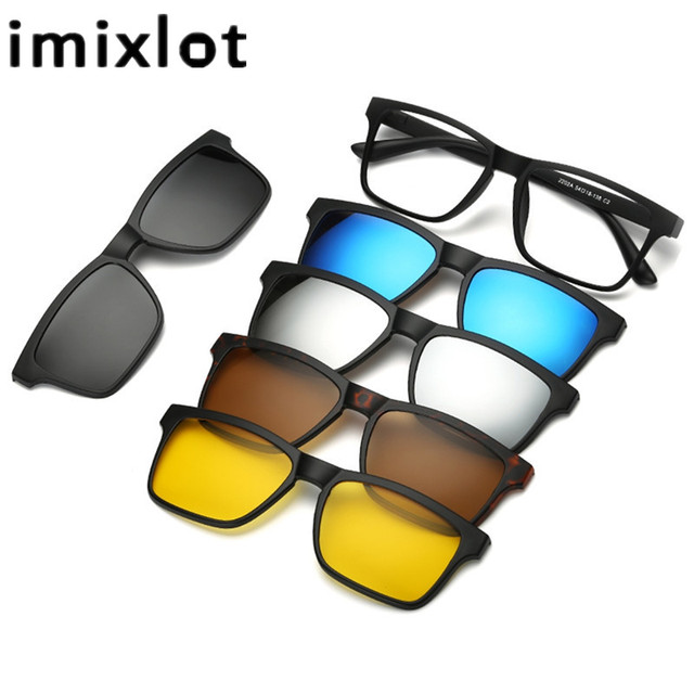 049777c6bd8 IMIXLOT 5 Pieces Clip On Sunglasses Polarized Magnetic Glasses Spectacle  Frame Men Women Male Driving Myopia