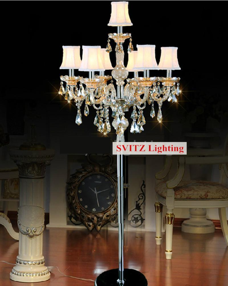 e77bf3eda63e 7 brazo lámparas de pie de cristal de la boda grande LED Tall candelabros  partido moderno candelabros luz del piso del sofá con cubierta de la lámpara