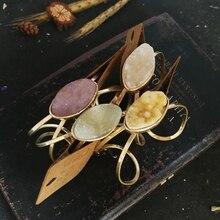 Vanssey Vintage Irregular Natural Stone Antique Gold Bangle Bracelet Jewelry Accessories for Women 2018 New