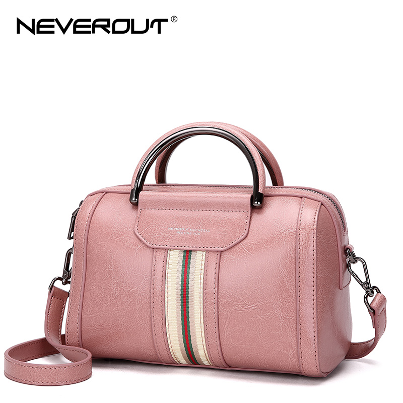 NeverOut Oil Wax Style Split Leather Bag for Women Vintage Boston Bag Shoulder Sac 3 Color Handbags Tote Zipper Tote New Handbag free delivery split leather women bag 2017 new china style fashion handbag plush luxury exquisite tote bag