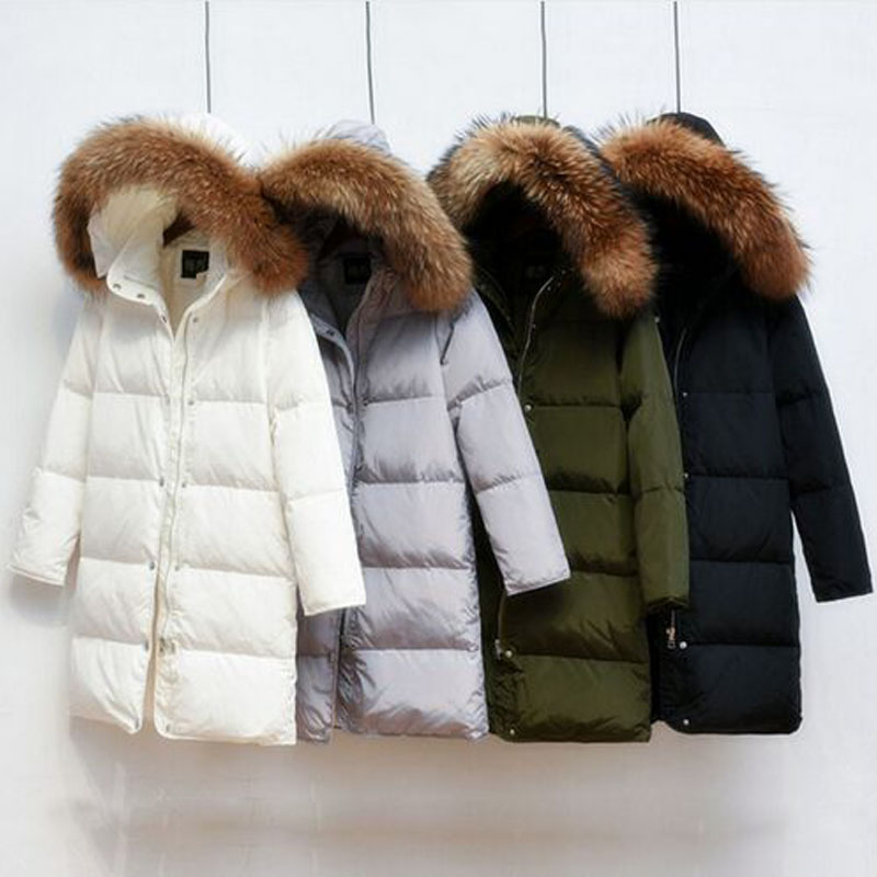 2019 Winter Jacket Women   Coat   With Real Natural Raccoon Fur 90% White Duck   Down   Jacket Warm Women   Coat   High Quality Parkas