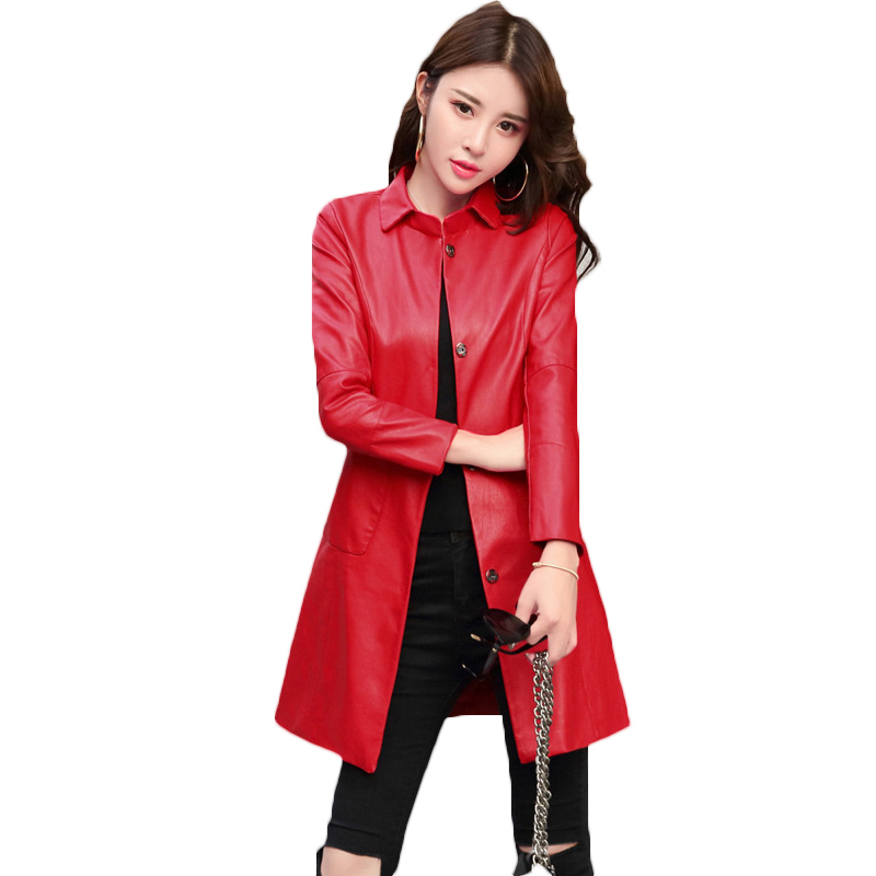 PU Faux   Leather   Jackets Women 2018 Spring Autumn New Korean Slim Motorcycle Windbreaker Coats Casual Large Size Outerwear A594