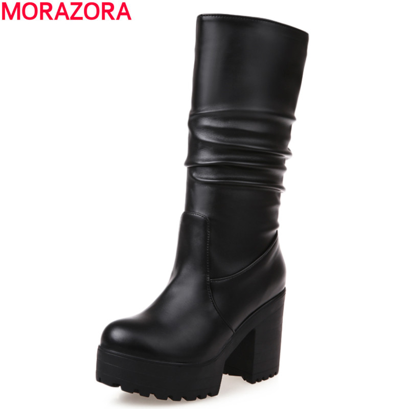 large size 33-43 2017 new winter warm mid calf boots thick high heels round toe platform solid black white women boots new fashion winter boots wool flock shoes women boots platform thick high heels mid calf boots two swear big size 34 43 0715