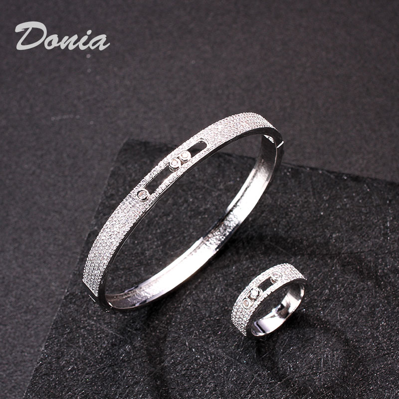 Donia jewelry Wedding Jewelry Set Perfect Cubic Zircon Copper Bracelet Ring Accessories Set Women's Bridal Bracelet Set
