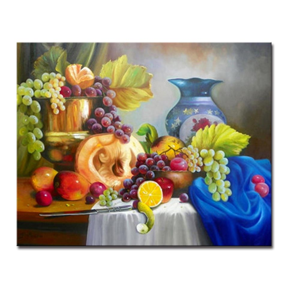 DIY Oil Painting By Numbers Kits Coloring Handpainted Still Life Fruit Pictures On Linen Canvas Home Decorative Wall Art in Painting Calligraphy from Home Garden