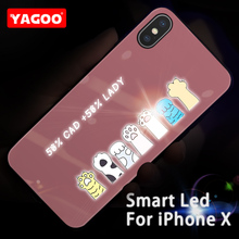 Yagoo Smart Led Glow Phone Case For iPhone X Cases Back Cover Apple iPhoneX 5.8 inch Cute Funda Luxury Silicone Glass Capa