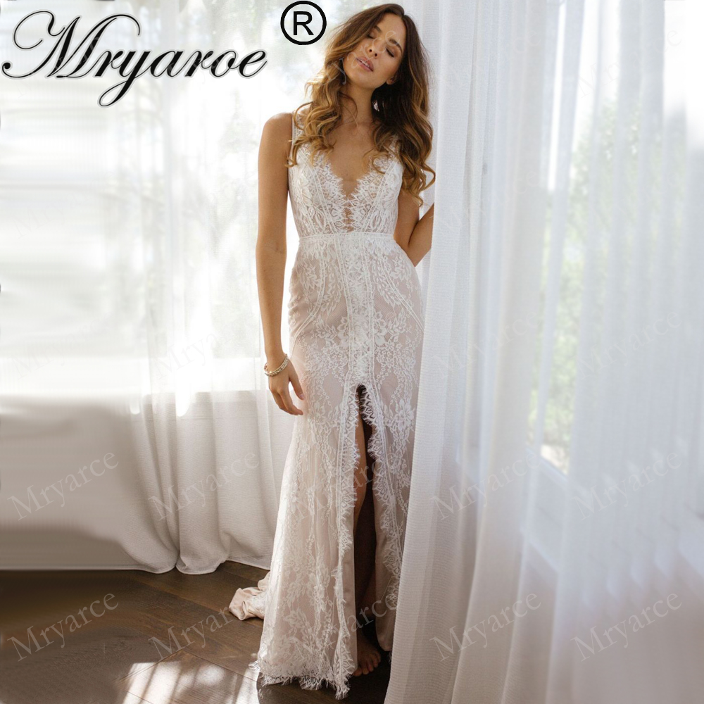 Us 17556 16 Offmryarce Exclusive Lace Sexy Deep V Neck Lace Mermaid Wedding Dress Open Back Front Slit Bridal Gowns Vestido De Noiva In Wedding