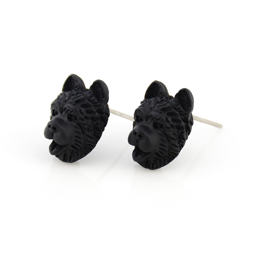 New Vintage 3D Chow Chow Dog Pet Stud Earring Punk Animal Dogs Earing Love Earrings For Women Jewelry Bijoux Femme Pendientes