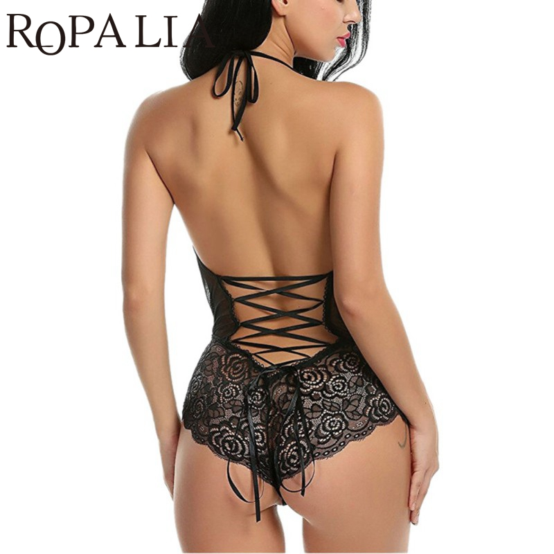 Ropalia Babydoll Erotic Sleepwear Women Lace Sheer Lingerie Sexy V-Neck Nightwear Robes With G-String Babydoll Women Sleepwear