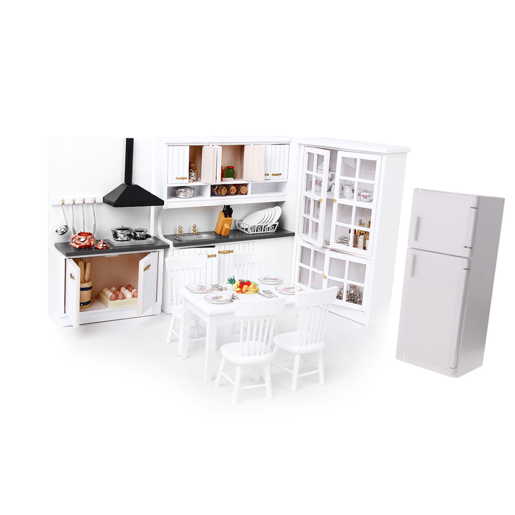 Miniature Luxury White Wooden Cabinet Refrigerator Fridge Furniture For 1/12 Dolls House Kitchen Dinning Room Decoration