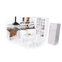 Miniature Luxury White Wooden Cabinet Refrigerator Fridge Furniture for 1/12 Dolls House Kitchen Dinning Room Decoration