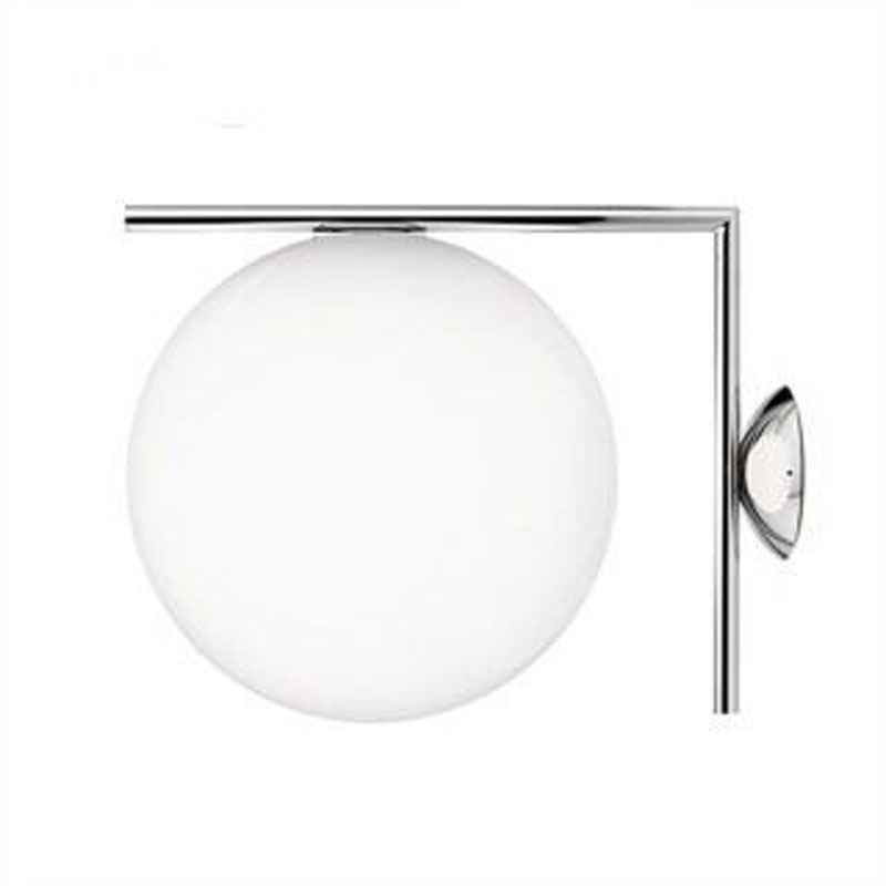 Modern LED Wall Lamps Industrial White Glass Wall Lights 20cm Chrome Body 5W LED Indoor Lighting