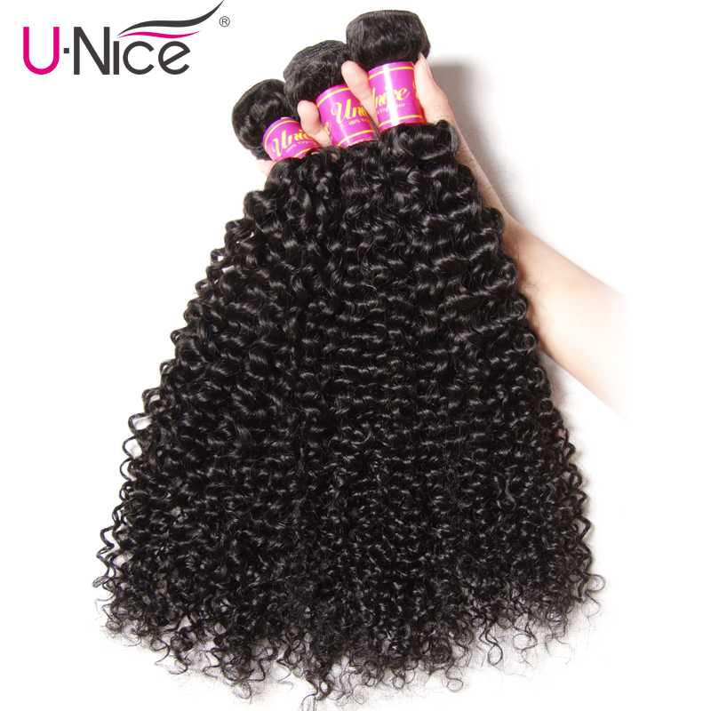 UNice Hair Icenu Series Remy Hair Indian Curly Hair 3 Bundles 100 Human Hair Extension Natural